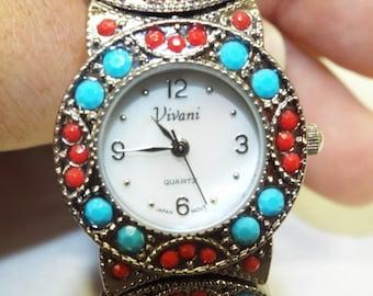 New Vivani Quartz Ladies Watch - Red and Blue Stones
