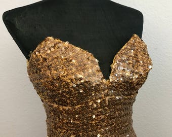 1950s gold sequin dress Raynor