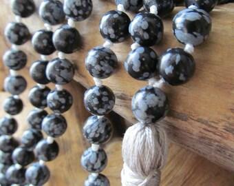 Mala Beads – Snowflake Obsidian  – 108 Mala Beads – Mala Necklace – Prayer Beads – Yoga Jewelry  - Japa Mala - Meditation - Buddhist-Beaded