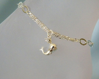 Bright Silver 3-D Spouting Whale Anklet