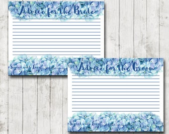 bridal advice card blue wedding card bridal shower games hydrangea theme groom
