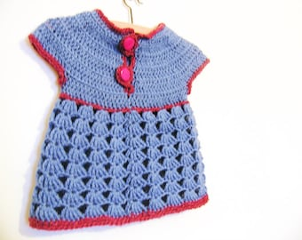 Blue sweater vest for toddler girl - Crocheted and ready to ship - Size 6 to 9 months