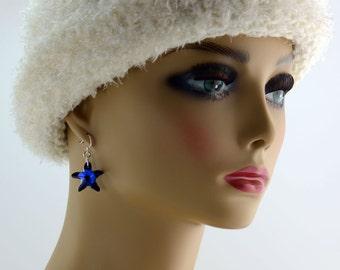 Blue Crystal Starfish Earrings - E2471 - Free Shipping