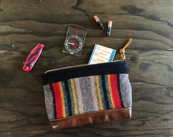 medium wool and leather zippered pouch