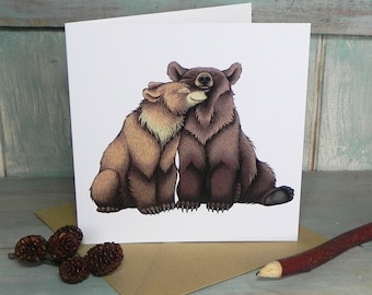 Bear Couple Illustration Square Greeting Card - 280gsm White Card 150 x 150mm Blank Inside with Brown Recycled Envelope