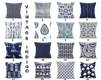 Pillow Covers Navy Blue Throw Pillows Decorative Cushion Covers Vintage Indigo White Paisley Nautical Cotton Couch Bed Mix & Match All Sizes