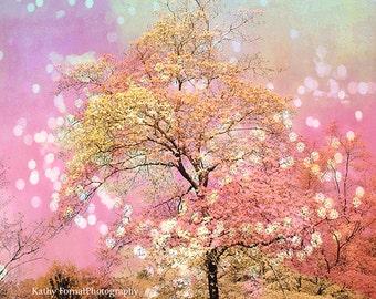 Pink Nature Photography, Pink Trees Nursery Wall Art Print, Pink Fairy Lights Tree Nature Print, Baby Girl Nursery Decor, Pink Nature Prints