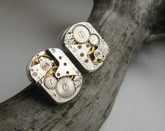 Steampunk stud earrings with mechanical watch movement Steampunk earrings Steampunk jewelry Industrial Gift idea Burning man