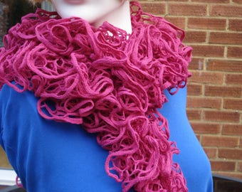 Feel In The Pink With This Deep Pink Lace Scarf Boa