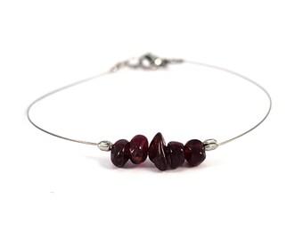 Red garnet bracelet, aquarius zodiac jewelry, red gemstone bracelet, dainty silver bracelet, handmade jewelry, genuine garnet jewelry shikky