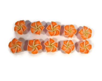 12 mm Polymer Clay Plumeria Flowers Set of 10 (MP3)