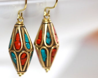 Turquoise and Coral Earrings (LIMITED EDITION - Only 2 Available) - 'Terror Come True'