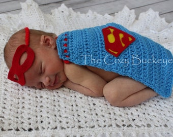 Instant Download Crochet Pattern - Superman Cape & Mask -Newborn Prop - Superhero cape - Halloween Costume