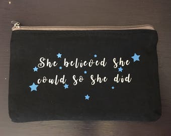Makeup bag with quote