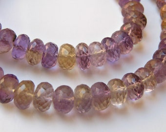 8 Pieces of Superb Large Ametrine Faceted Rondelles 7.5mm - 8mm Semi precious gemstone beads