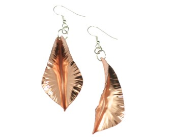7 Year Anniversary Gift  Fold-Formed Copper Leaf Earrings 7th Anniversary Gift For Her Seven Year Anniversary Gift Copper Anniversary Gifts