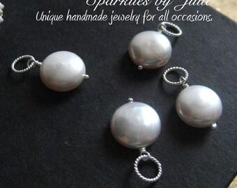 Coin Pearl Pendant, freshwater pearl in sterling silver, Gemstone pendant, Interchangable pendant, Slider, Pearl Dangle