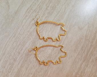 Vintage Super Sized Pig Outline Earrings