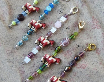PAINT HORSE Clay Bead Purse Charm/Zipper Pull Glass/Metal Beads...choose one style
