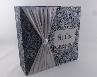 Wedding PHOTO ALBUM anniversary Photo Album personalized engagement photo album Bridal Shower gift 4x6 5x7 8x10 picture Black Silver Brocade