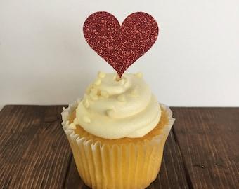 Heart Cupcake Topper / Bridal Shower Cupcake Topper / Wedding Cupcake Topper / Bridal Shower Decor / Wedding Shower Decor / Wedding Cake
