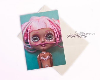 Pink Dalí  - Any occasion greeting card by cocomicchi - A5 size