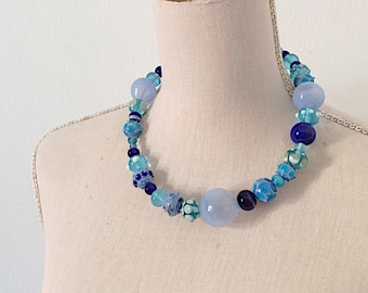 Statement handblown blue glass necklace