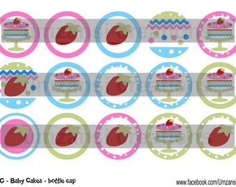 """15 M2MG Baby Cakes Download for 1"""" Bottle Caps (4x6)"""
