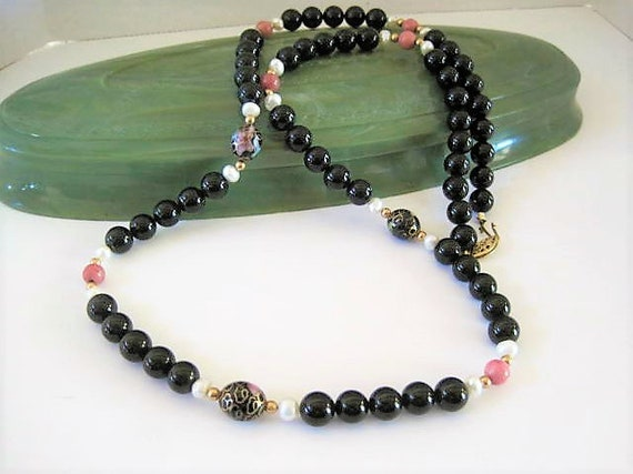 Black Glass Bead Necklace, Cloisonne Spacers, 26 Inches with Gold Tone Clasp