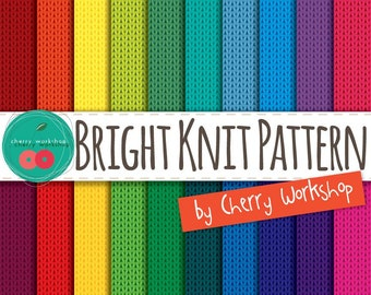 "Knitted Digital Paper ""Knit Brights"" knitted pattern digital paper pack in bright colors for card making, scrapbooking, stationery and more"