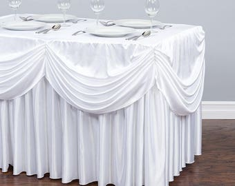 8 Ft. Drape Chiffon All-In-1 Tablecloth/Pleated Skirt