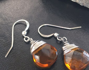 Amber Faceted Crystal on Silver