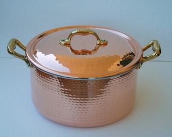 Copper Dutch oven/pot High craftsmanship. Handmade. 24 cm. H 14. 6.5 l