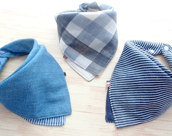 Baby Bib, Set of 3, Baby Bandana Bib, Reversible Scarf Bib, Solid Navy Blue Denim Print, Gray Plaids, Stripes, Boy, Girl, Cotton, Jingle Bib