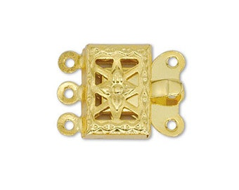 4pcs Gold 2 Strand Box Clasp Gold Plated Filigree Pearl Clasp Rectangle Safety Clasp 10x8mm