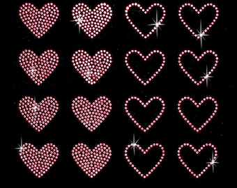 Set of 16 pink hearts rhinestone stud iron on transfer - BUY 2, GET 1 FREE