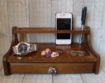 Men's Valet Box, Valet Box, Oak Valet Box, Dresser Valet Box, Vintage Oak Valet Box, Up Cycled Valet Box, Men's Jewelry Box, Trinket Box