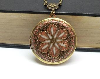 Coral Brass Filigree Flower Locket, Brass Locket Photo Locket, Valentine Gift For Her, Wedding Locket Picture Locket