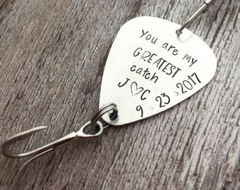 Valentine's Day Gift for him - Personalized Fishing Lure - My Greatest Catch - Wedding - Groom Gift - Anniversary Gift for Him - Fishing