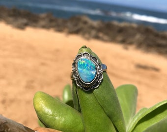 Genuine Opal on Sterling Silver 925 Size 7 Ring