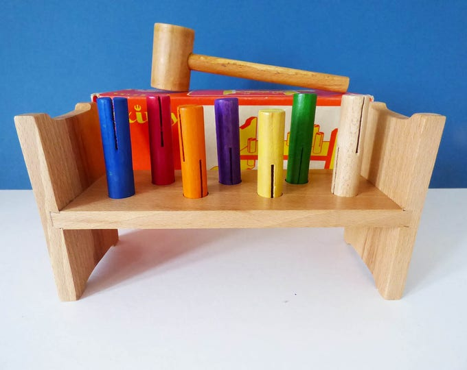 Hammer and Peg toy by Exitoy  Vintage Rainbow Wooden