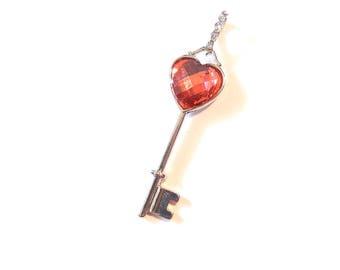 Heart Top Silver-tone Skeleton Key Pendant