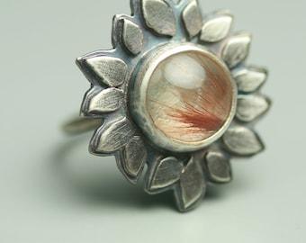 Copper Rutilated Quartz Flower Ring - Statement Ring - Botanical Ring