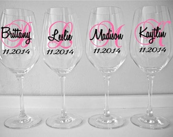 Personalized Wine Glass Decal, Monogram With Name And Date, Bridal Party Wine Glass Decals, Glasses NOT Included