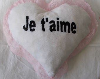 Pink white lace heart pillow