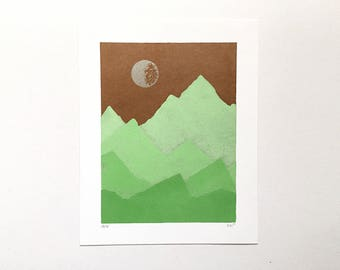 SALE! 8x10 Letterpress Print - Copper Sky Over Spring Green Mountains