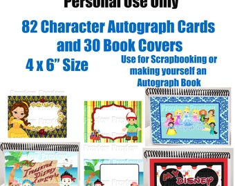 Character Autograph Cards - DIY Disney Autograph Book - Disney Scrapbooking Cards - Instant Download