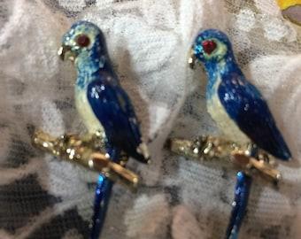 Vintage Pair of Enamel Blue Parrot Pins Brooches Bird Pins