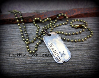 Hand Stamped Rustic Personalized necklace. Tiny Antiqued Brass Dog Tag