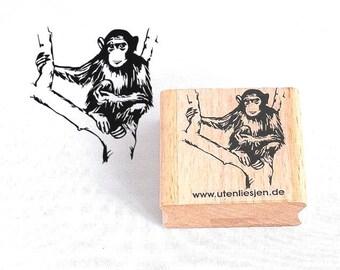 Stamp chimpanzee, rubber stamp 40 mm